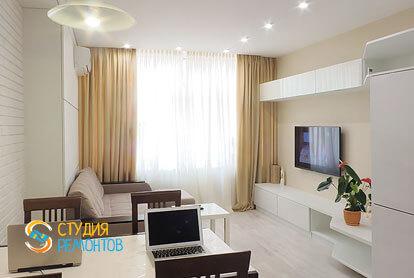 Евроремонт комнаты с кухней в маленькой квартире 18 м2 фото-1