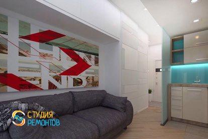 Евроремонт жилой комнаты в студии 18 м2 фото-2