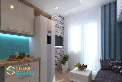 Евроремонт жилой комнаты в студии 18 м2 фото-3