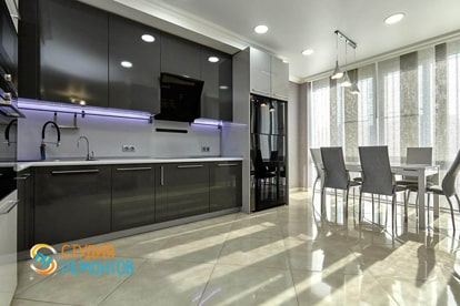 Евроремонт комнаты-кухни в квартире 34 м2, фото-1