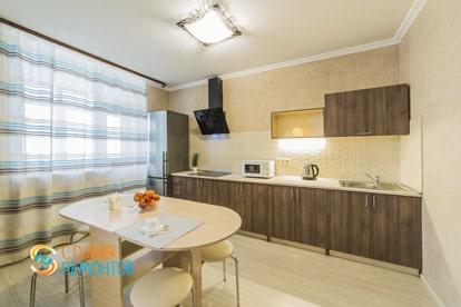Евроремонт кухонной комнаты в квартире 38 кв.м. фото 1