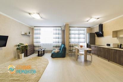 Евроремонт кухонной комнаты в квартире 38 кв.м. фото 2