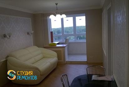 Евроремонт гостиной-кабинета в квартире 42 м2 фото 2