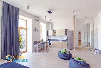 Капитальный ремонт кухни и комнаты в квартире 54 кв.м. фото 2