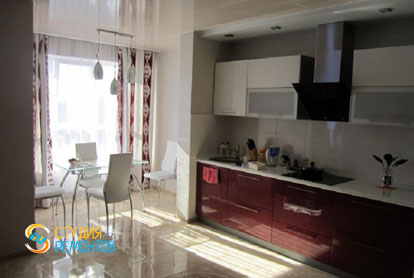 Косметический ремонт кухни-зала в квартире 54 м2 фото 1
