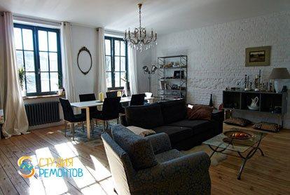 Ремонт гостиной в квартире 51 кв.м. в стиле лофт
