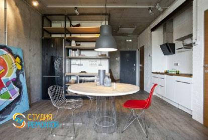 Ремонт квартиры в стиле лофт 40 м2. Кухня-зал, фото-2