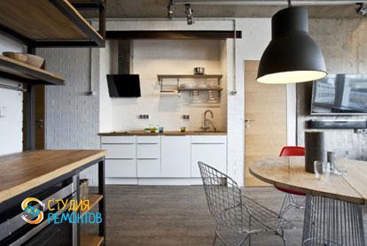 Ремонт квартиры в стиле лофт 40 м2. Кухня-зал, фото-3