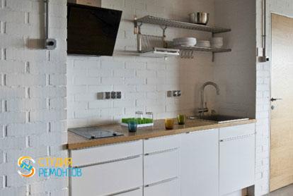 Ремонт квартиры в стиле лофт 40 м2. Кухня-зал, фото-4