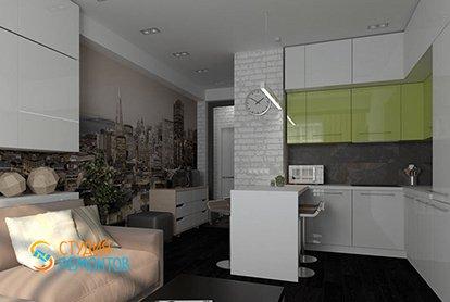 Евроремонт комнаты с кухней в малогабаритной новостройке 23 м2