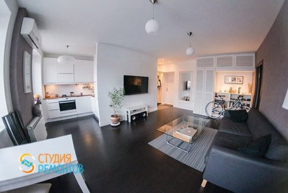 Евроремонт комнаты и кухни в квартире-студии 34 м2 в хрущевке, фото-2