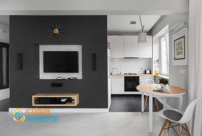 Евроремонт комнаты с кухней в студии 29 кв.м. в хрущевке, фото-2