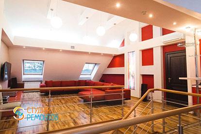 Евроремонт гостиной-мансарды в таунхаусе 79 кв. метров под ключ