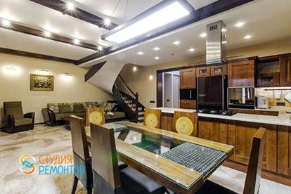 Евроремонт кухни-гостиной в таунхаусе 87 кв. метров