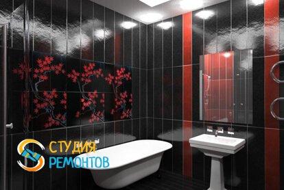 Отделка ванной панелями 10,5 кв.м.