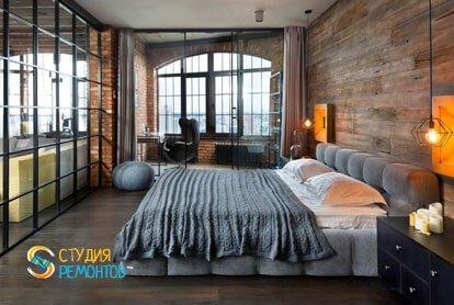 Ремонт спальни-кабинета в квартире 42 м2 в стиле лофт